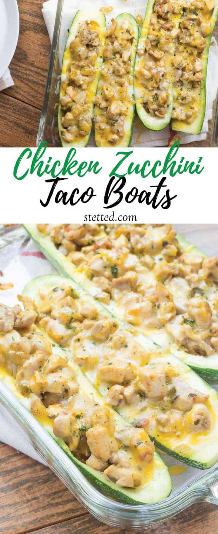 Zucchini Taco Boats with Chicken are a light and simple dinner. They're a great way to get your veggies in!