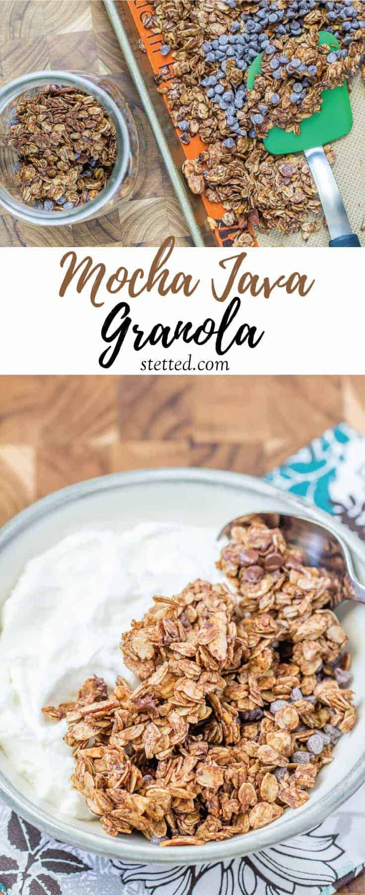 Mocha java granola is chocolaty and nutty, with a hit of coffee. This make-ahead breakfast will make your mornings so much easier.