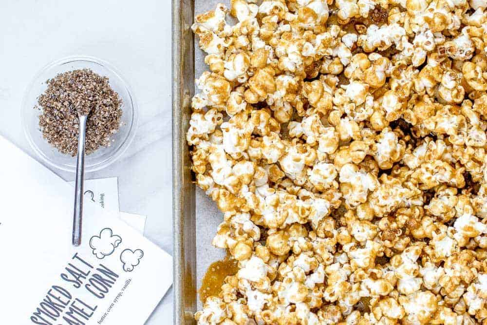 Add smoked salt to make this lovely smoked salt caramel corn.