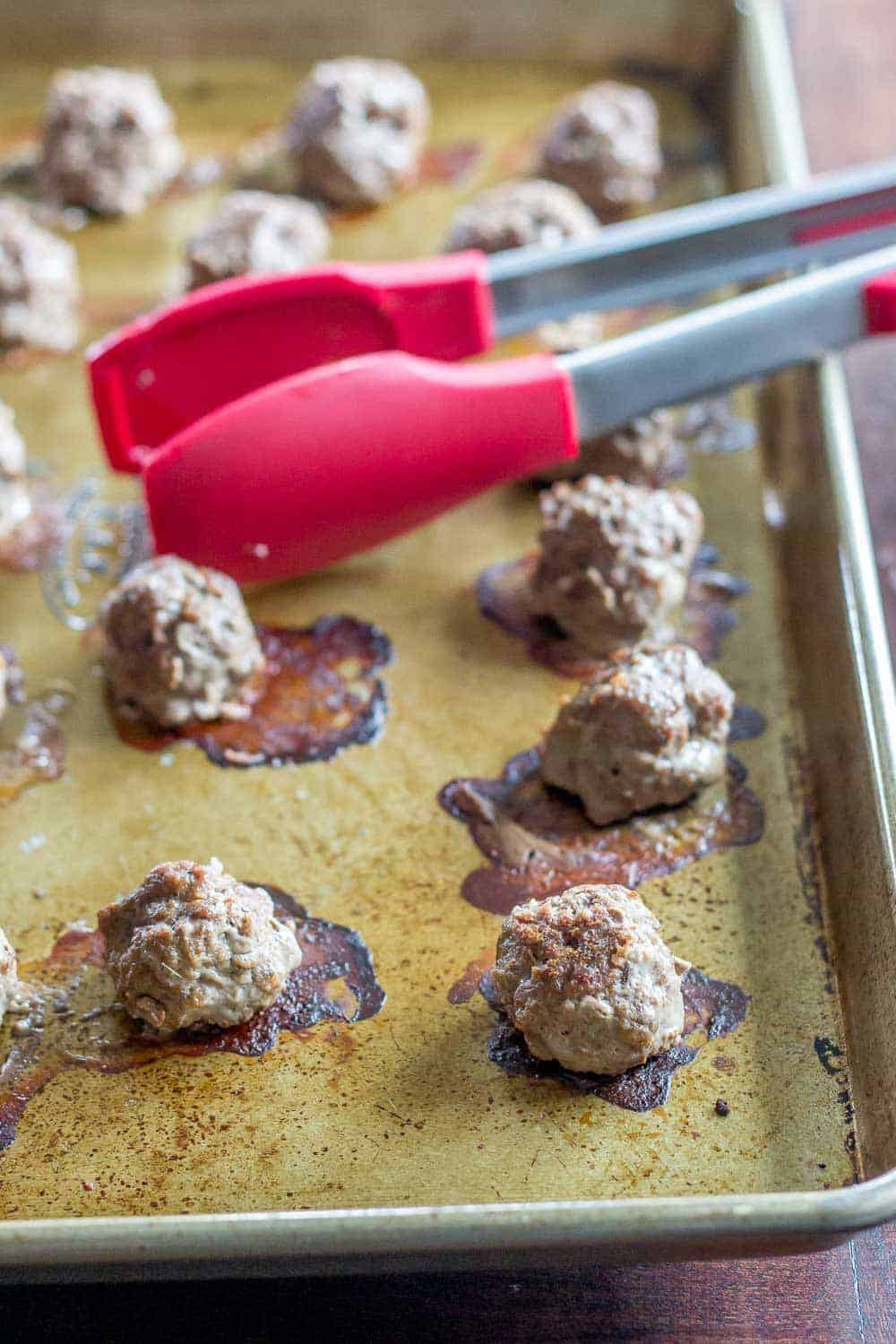 Baked bison meatballs cook up quickly for an easy dinner.