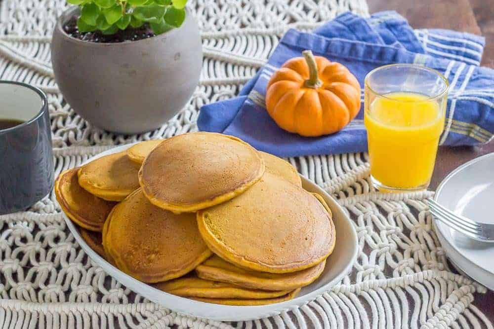 Pumpkin pancakes are full of warming spices to help start your day right.