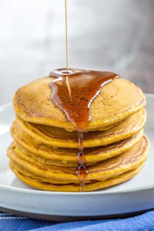 No autumn brunch is complete without pumpkin pancakes. Make a big batch so you can have extras for snacking.