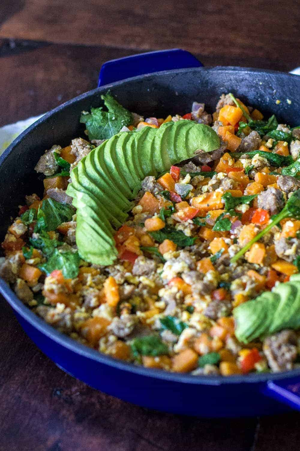 Whole30 breakfast hash gets your day started with plenty of protein and vegetables.