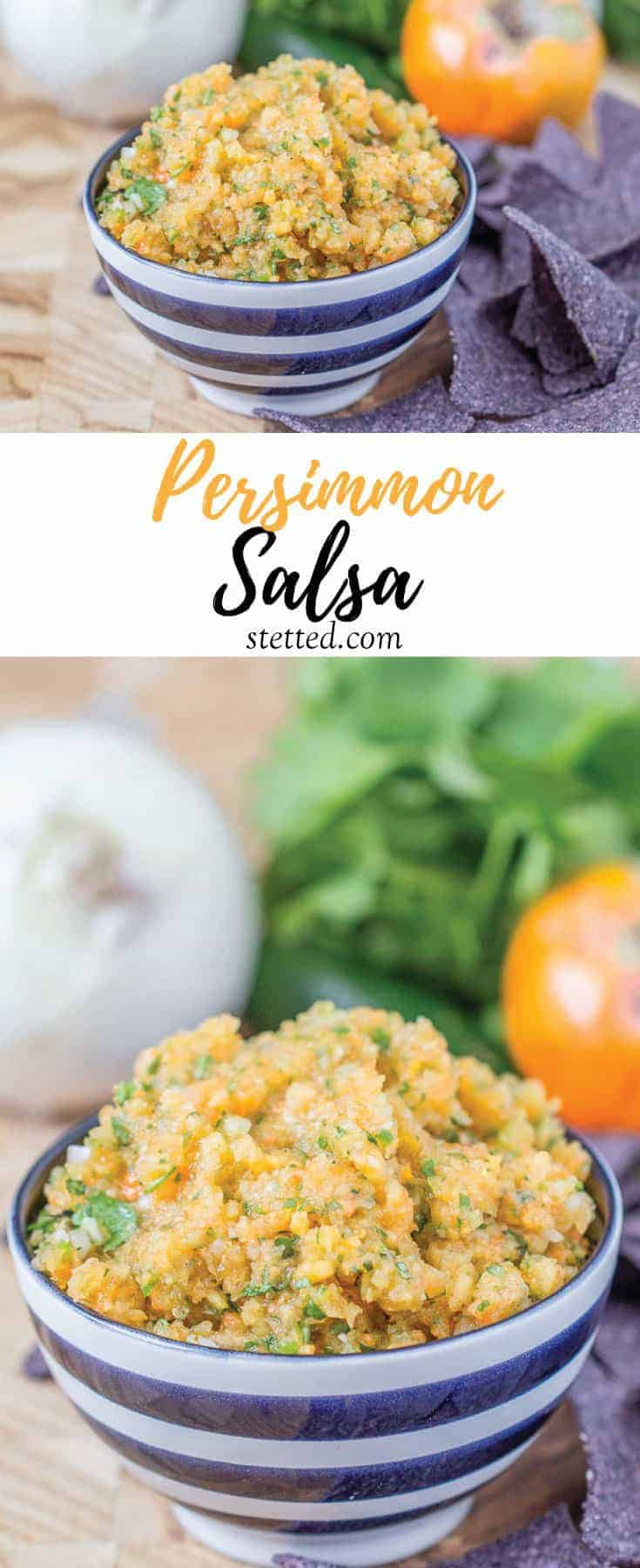Persimmon salsa is a simple autumn salsa for all your snacking needs. If you like fruit salsa, you definitely need to try it!
