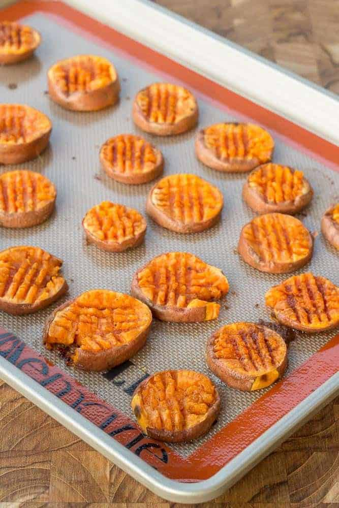 Smashed sweet potatoes are a yummy side dish to any meal. Even breakfast!