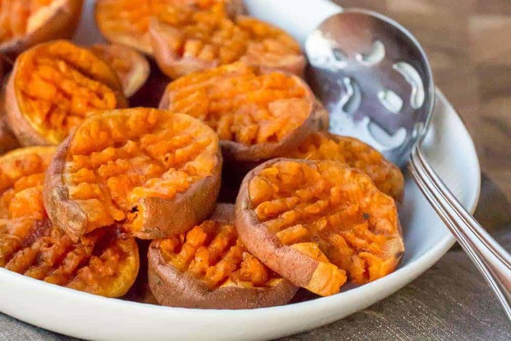 Smashed sweet potatoes are a great addition to your holiday table.