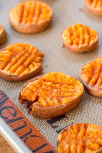 Smashed sweet potatoes take on the flavor of sweet potato casserole, without all the extra work!
