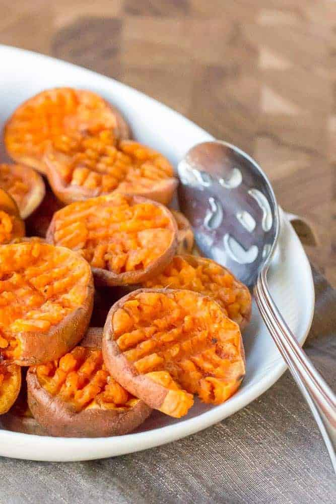 Smashed sweet potatoes are a great take on the classic side dish! Serve them with the traditional turkey dinner, or with breakfast.