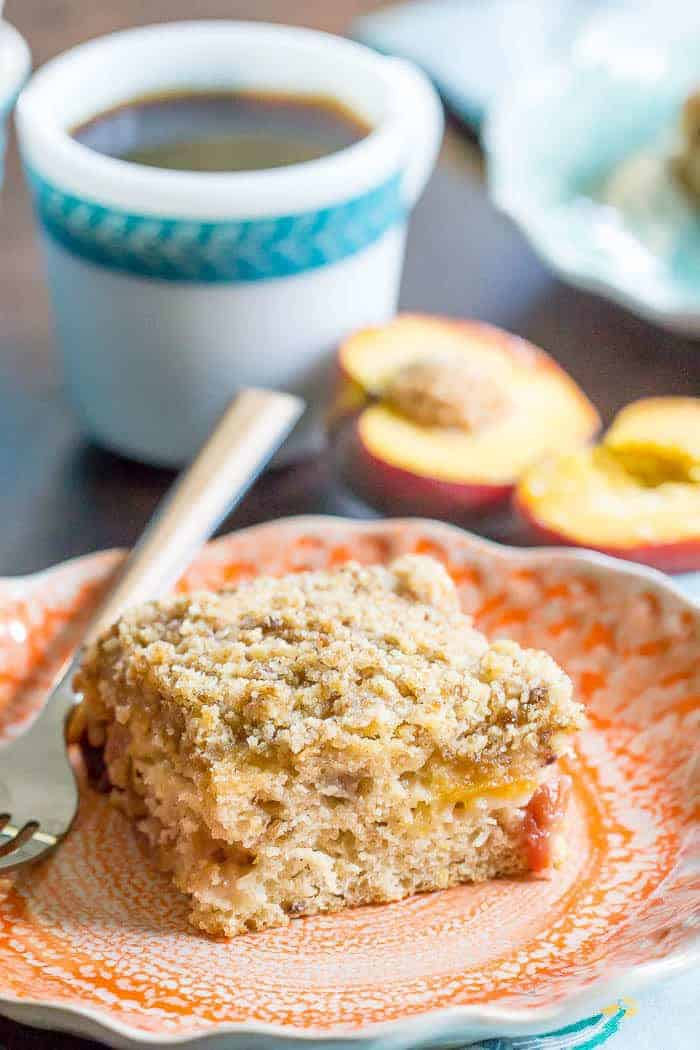 Peach coffee cake starts your morning off right. Who doesn't love a summer peach?