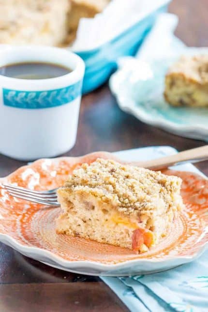 Peach coffee cake is a summery breakfast treat. It's a great way to use up less-than-perfect peaches.
