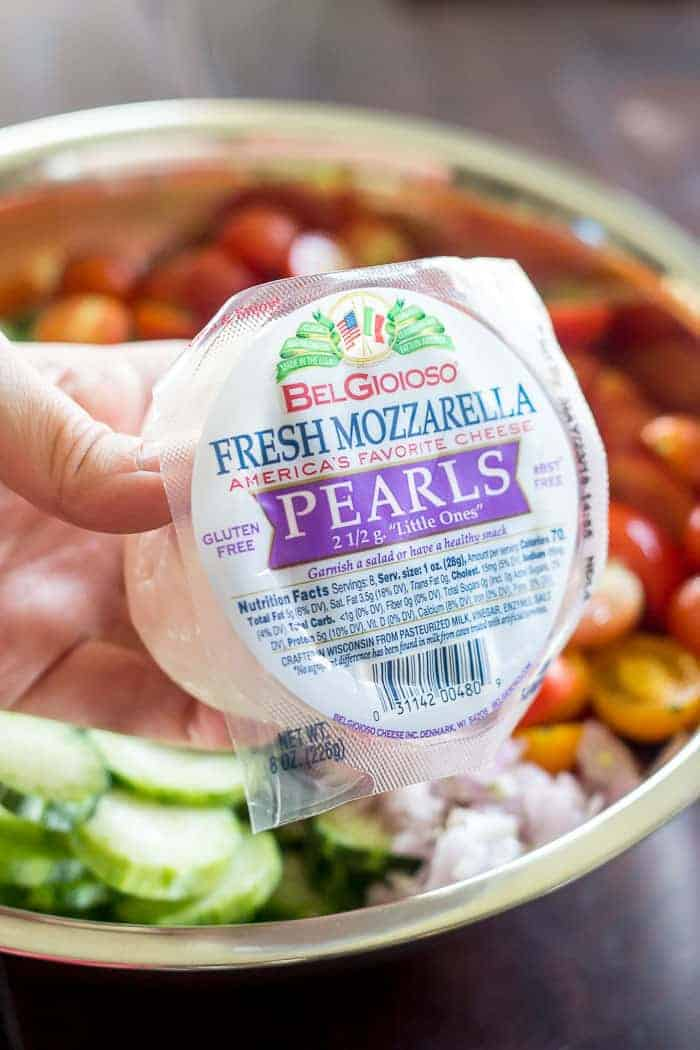 Mozzarella pearls are ideal for salads.