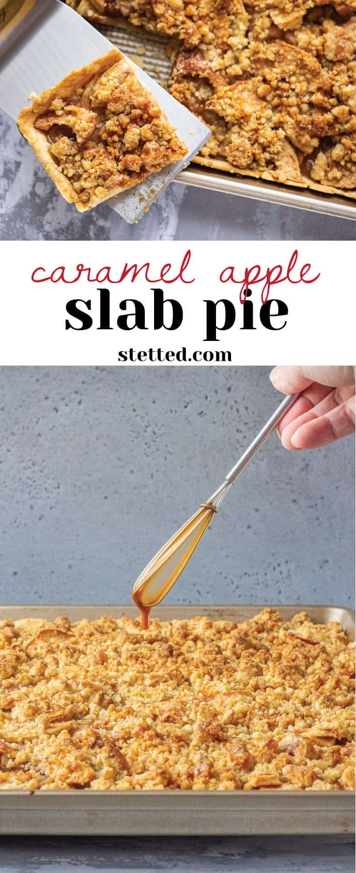 Caramel apple slab pie is a sweet welcome to fall that feeds a crowd. Make it for potlucks, tailgating, or whenever you need to use up some apples.