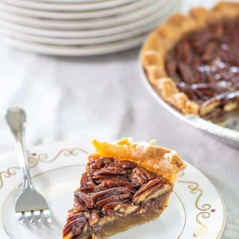 Maple pecan pie slice vertical