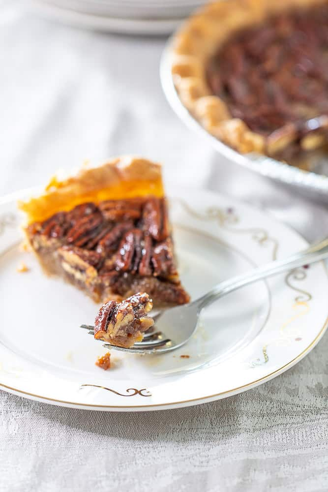 Maple pecan pie with fork