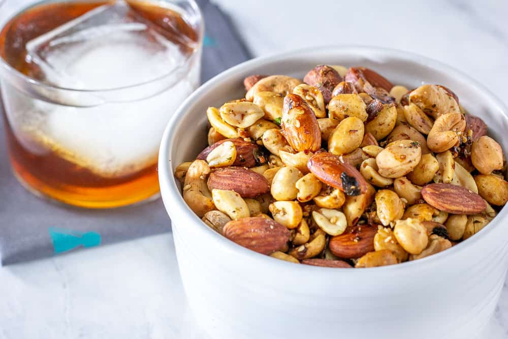 Furikake roasted nuts in bowl