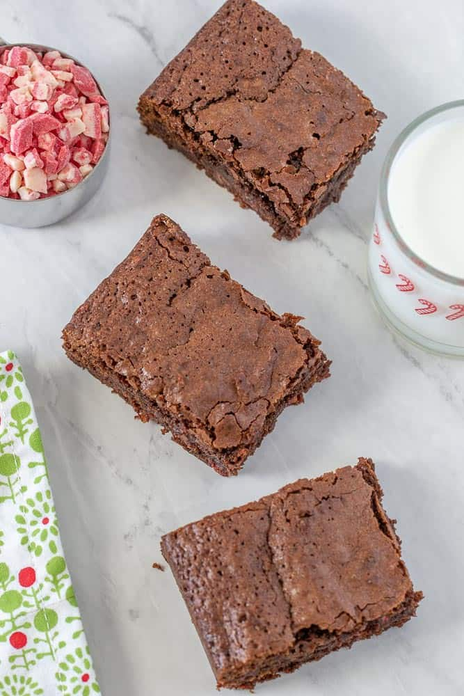 Peppermint brownies cut overhead