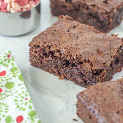 Peppermint brownies cut