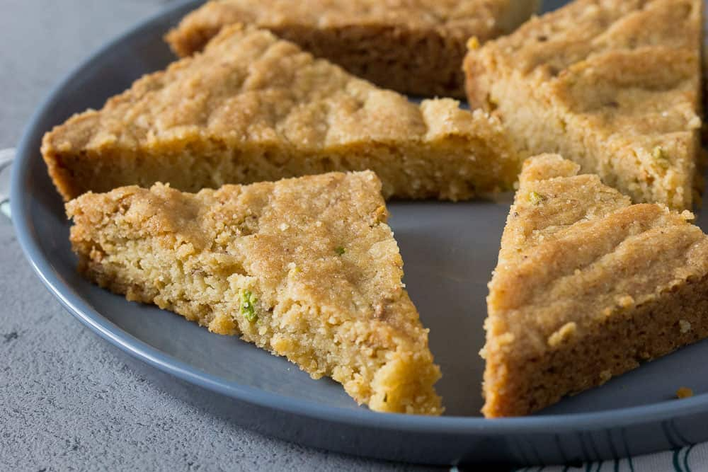 Pistachio shortbread slices