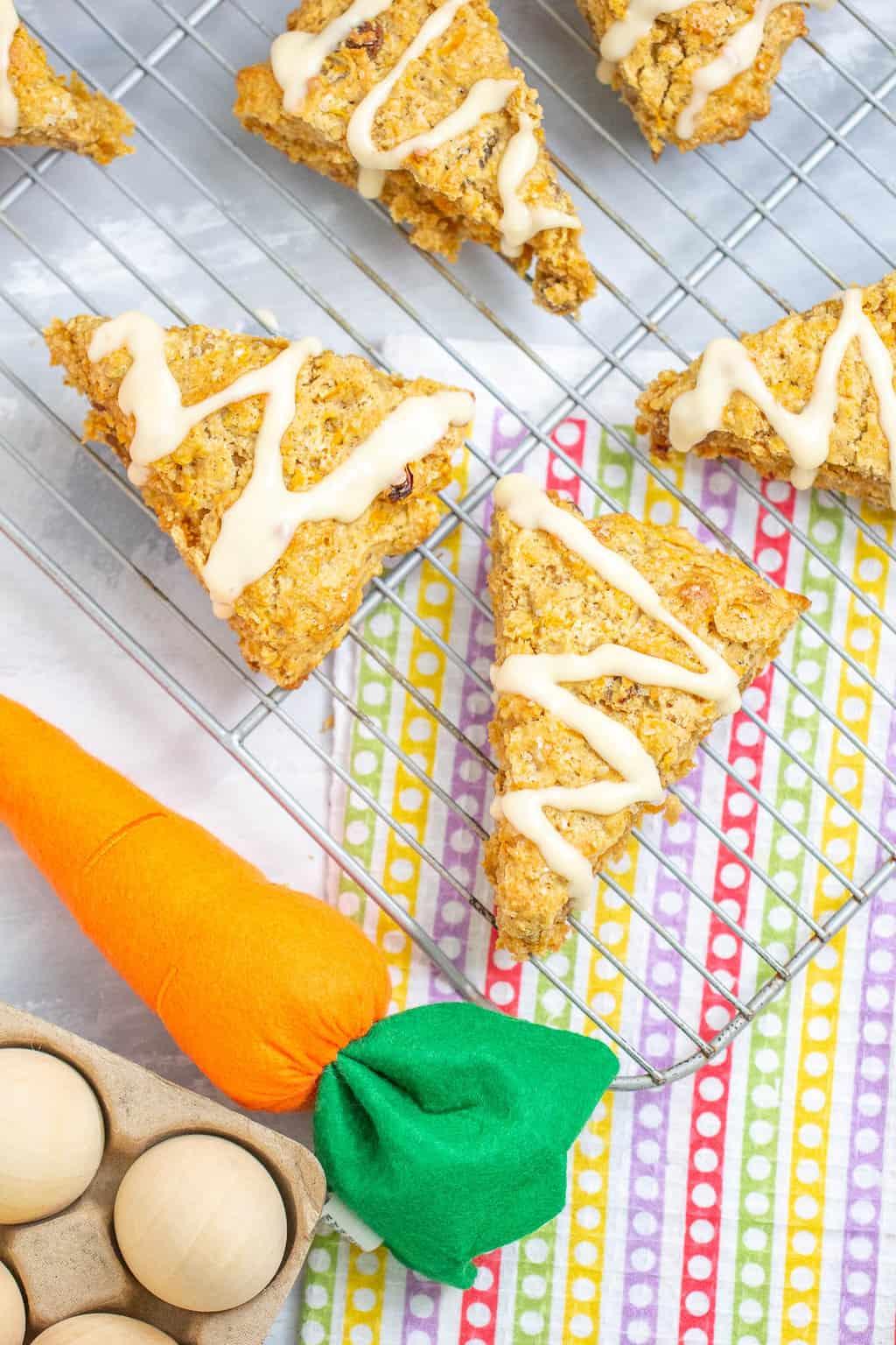 Carrot cake scones overhead