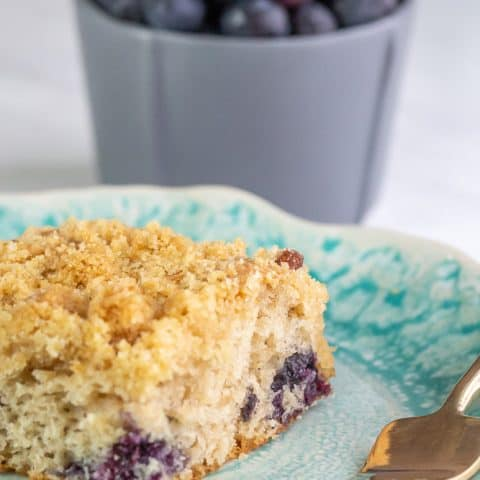 blueberry coffee cake with fork