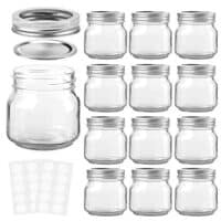 KAMOTA Mason Jars 8 oz, 12 PACK