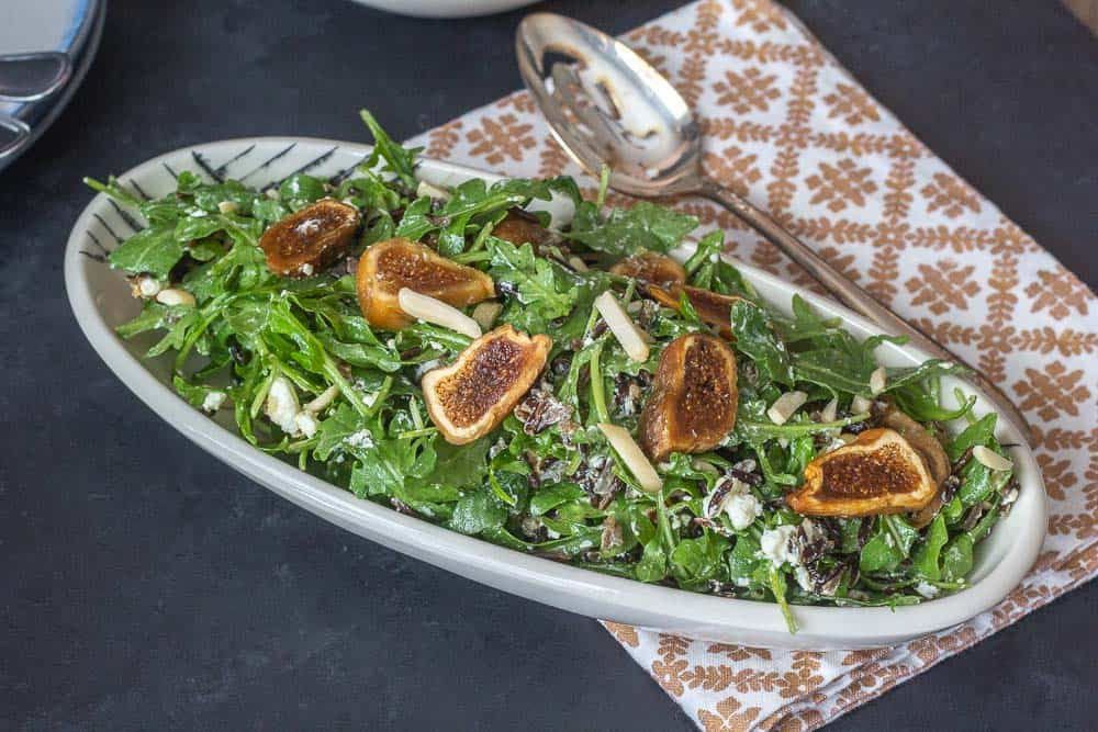 fig wild rice salad overhead