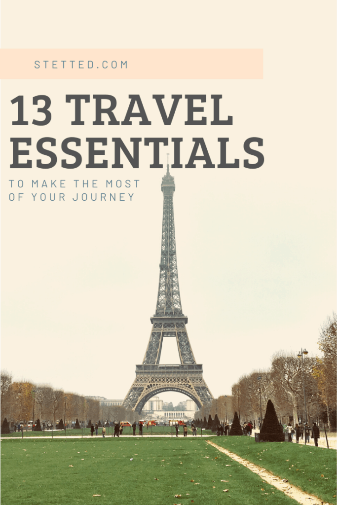 "Eiffel tower with ""13 Travel Essentials"" overlayed"