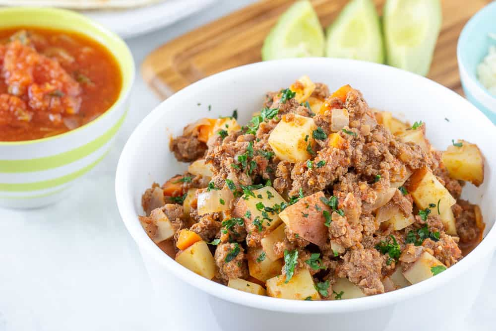 Bison picadillo in bowl horizontal