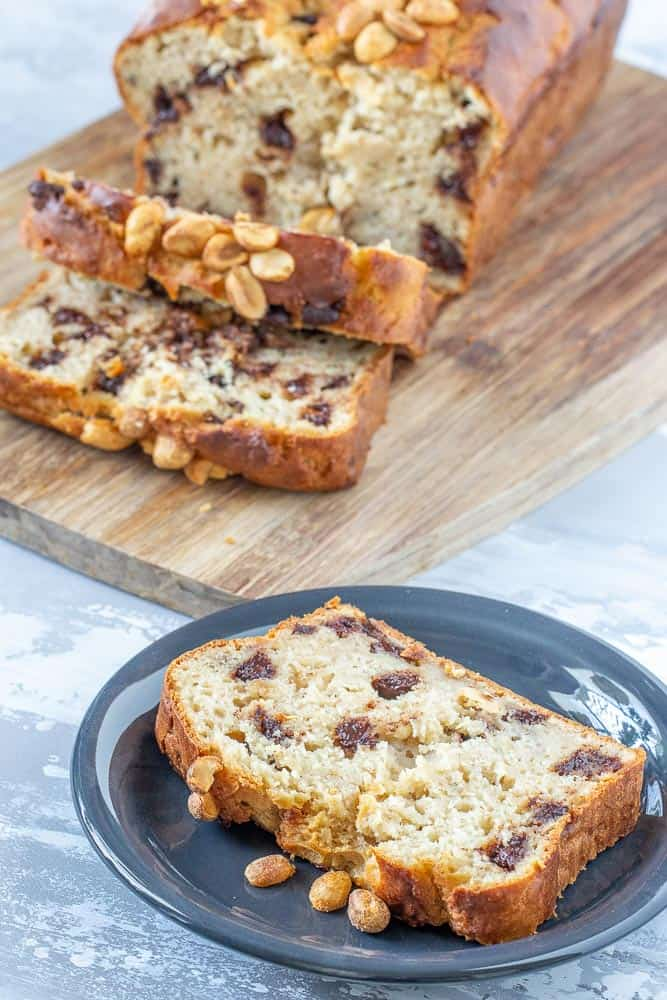 banana bread with chocolate chips, sliced