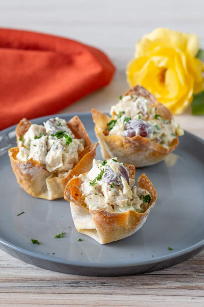 chicken salad wonton cups on plate