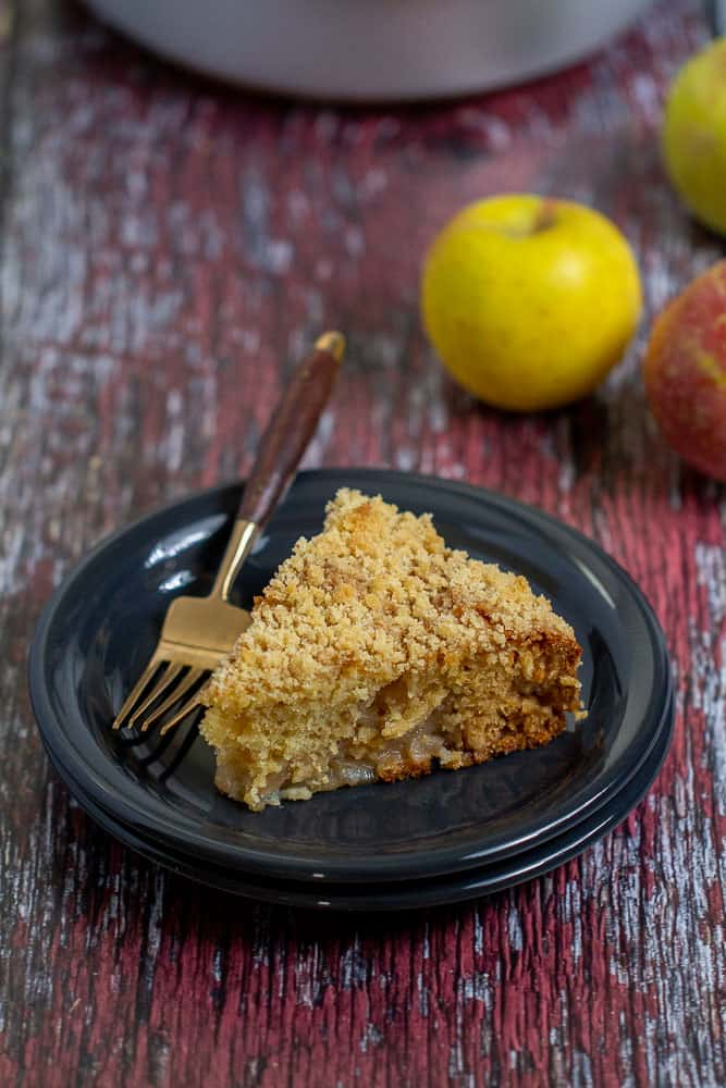 slice of apple coffee cake with fork