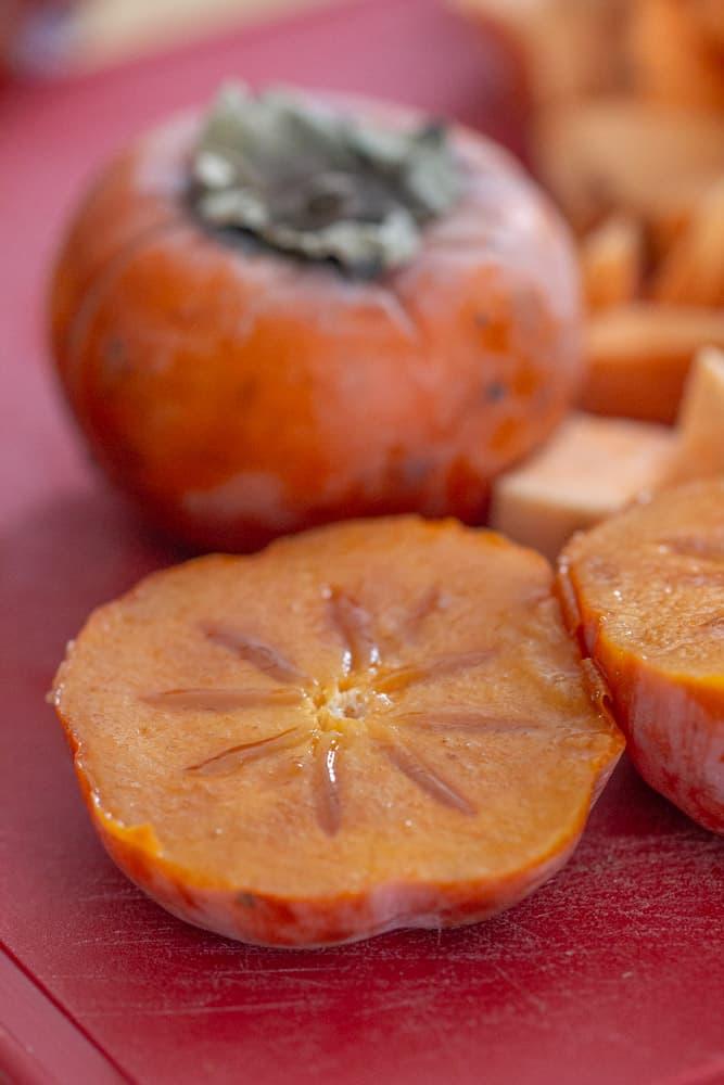 cut fuyu persimmon