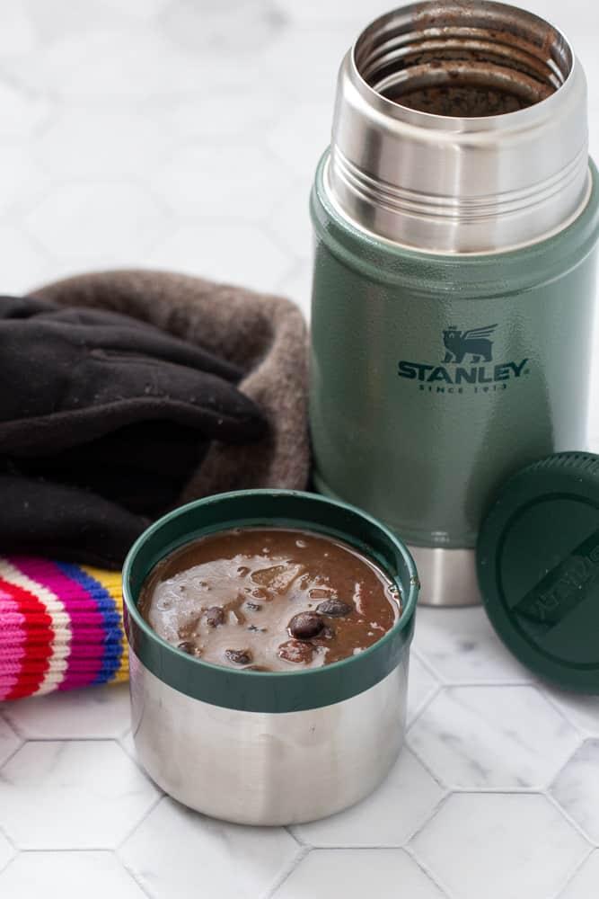 black bean soup in Stanley food jar