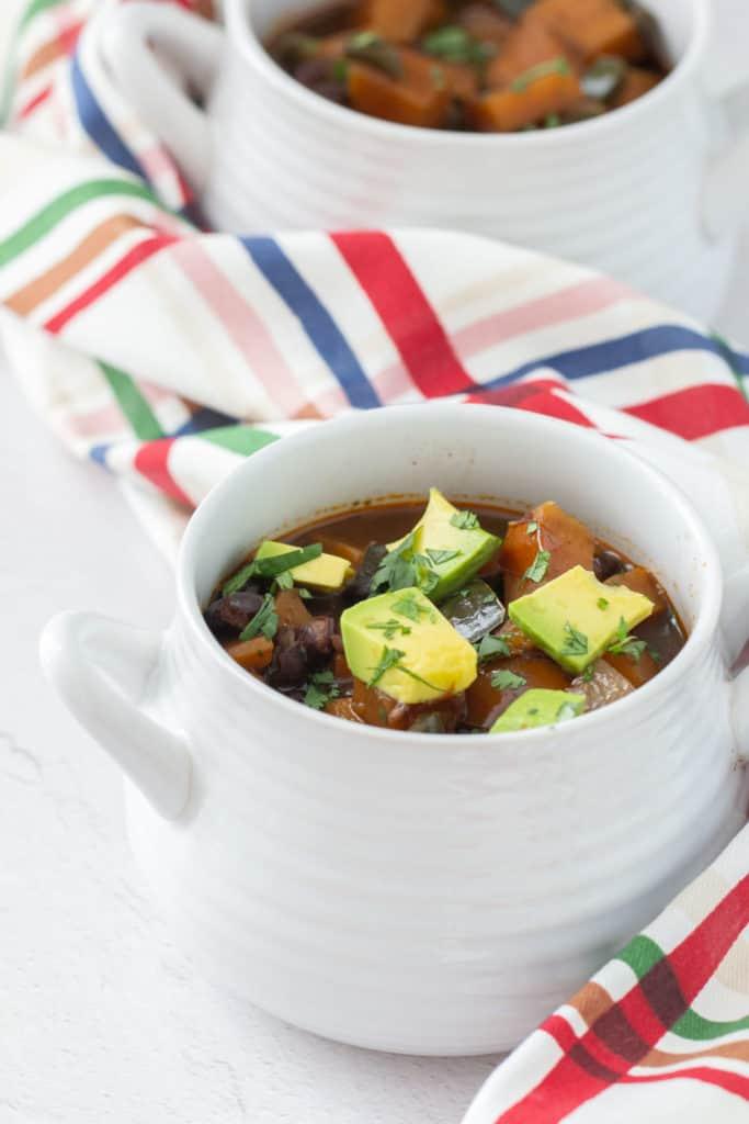 sweet potato black bean chili with avocado