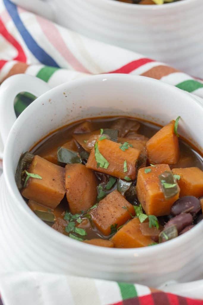 bowl of sweet potato black bean chili