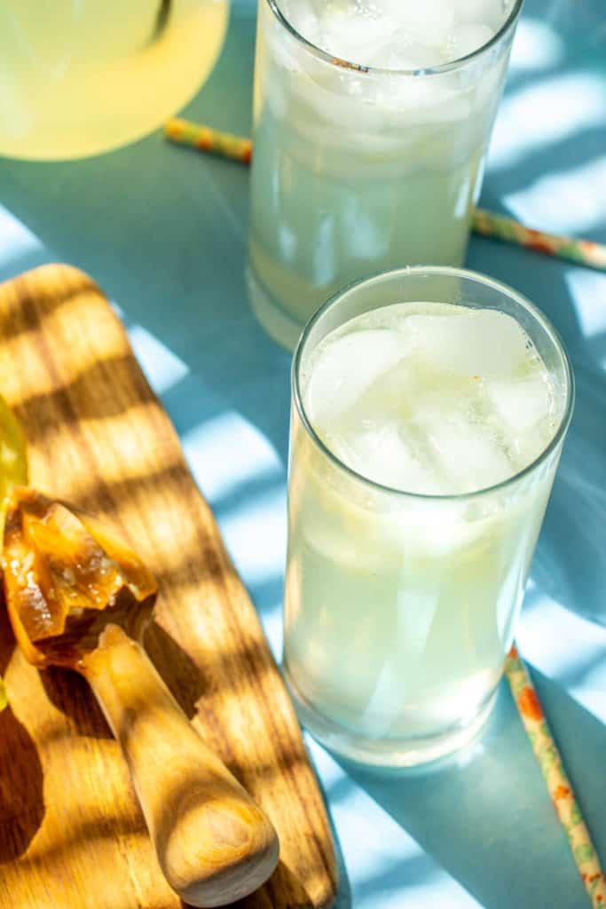 overhead of lemonade in glasses