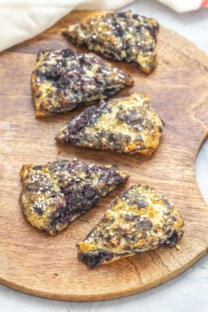 black raspberry scones on a tray