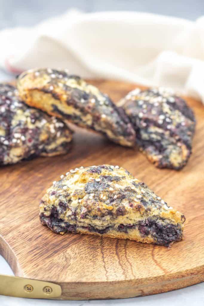 tray of black raspberry scones