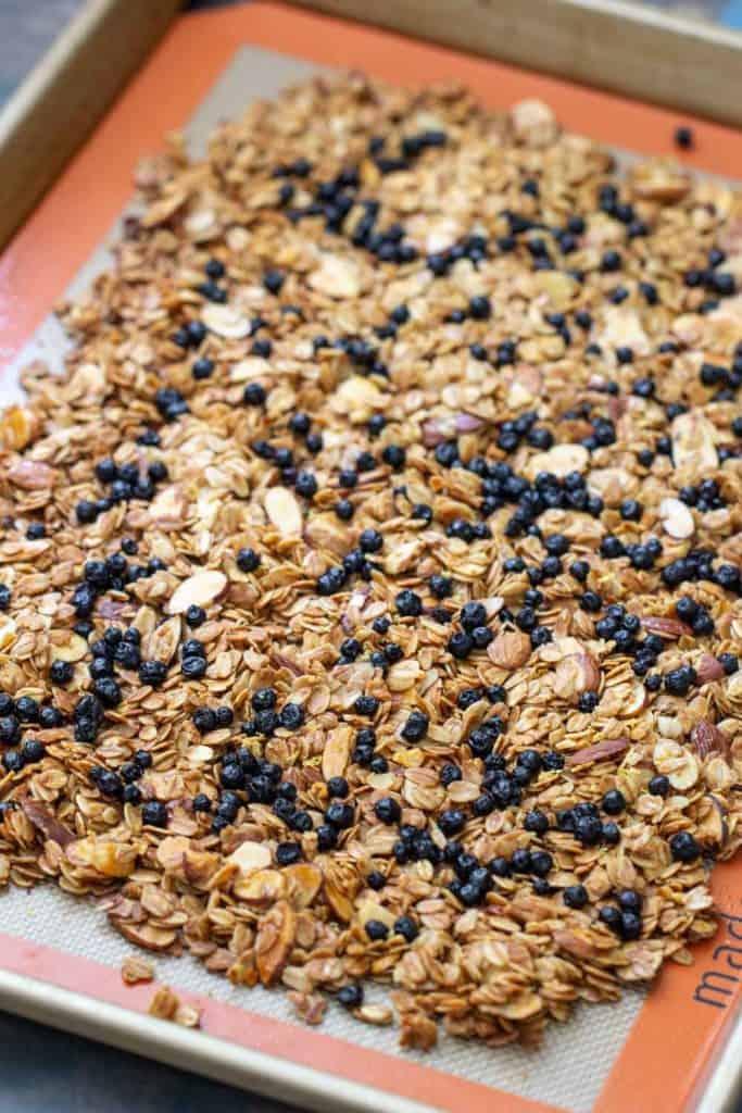 sheet pan of lemon blueberry granola
