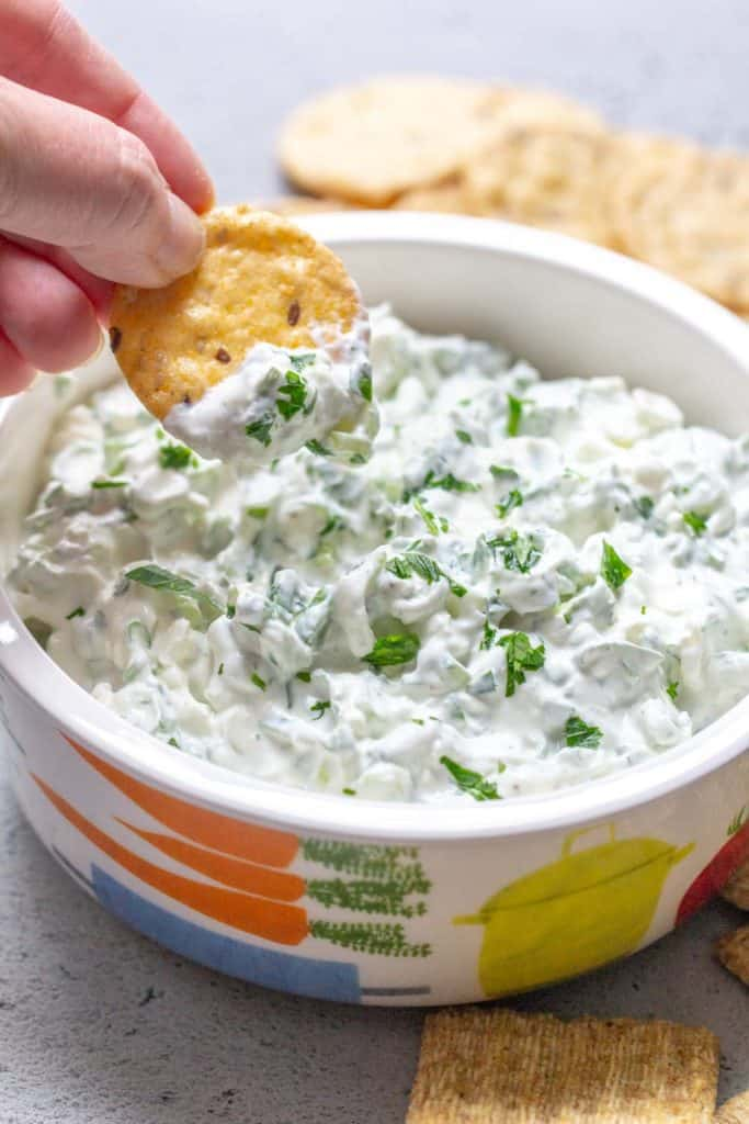 hand holding cracker with green onion dip