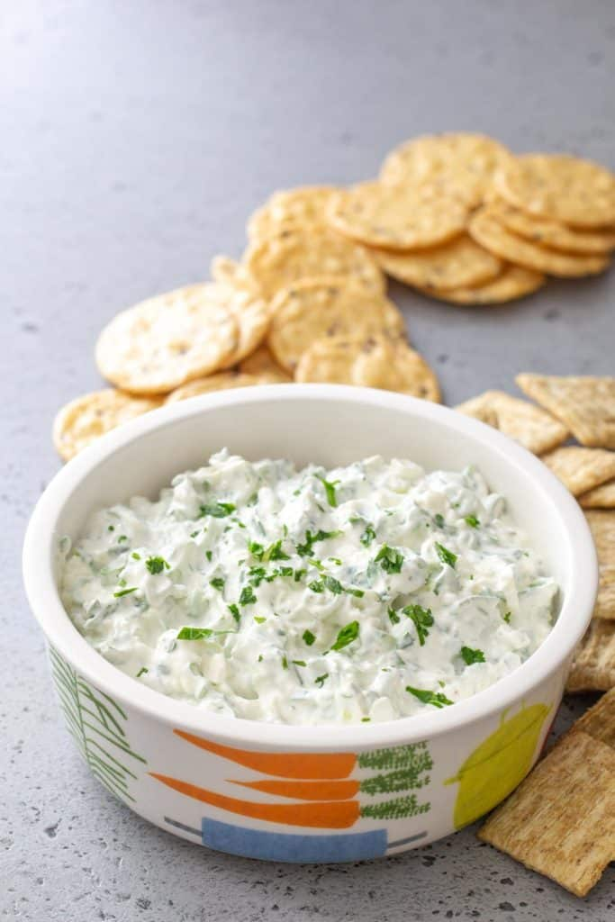 green onion dip with crackers