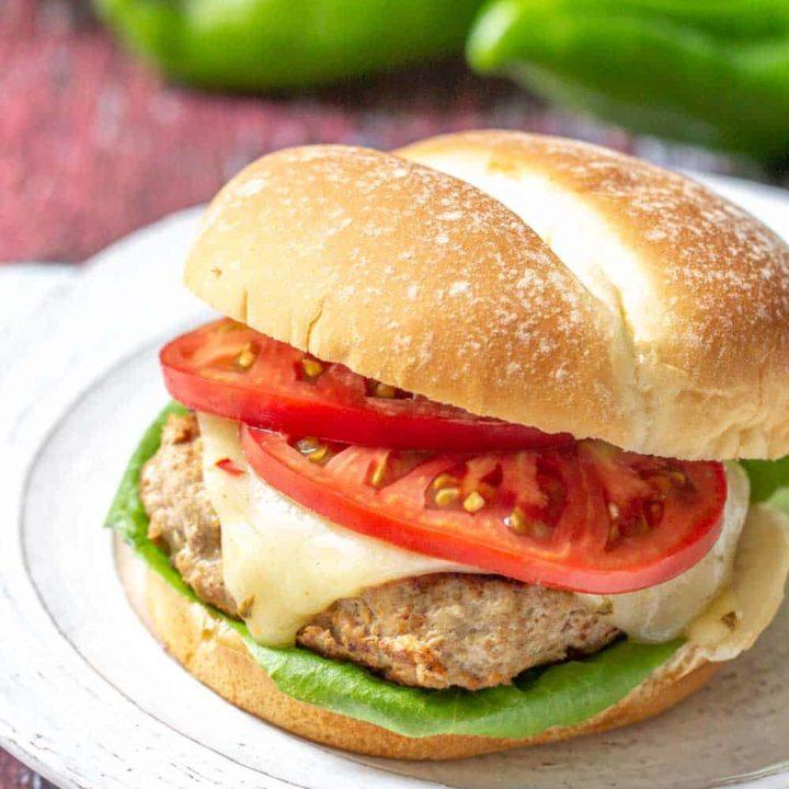 hatch chile turkey burger on a plate