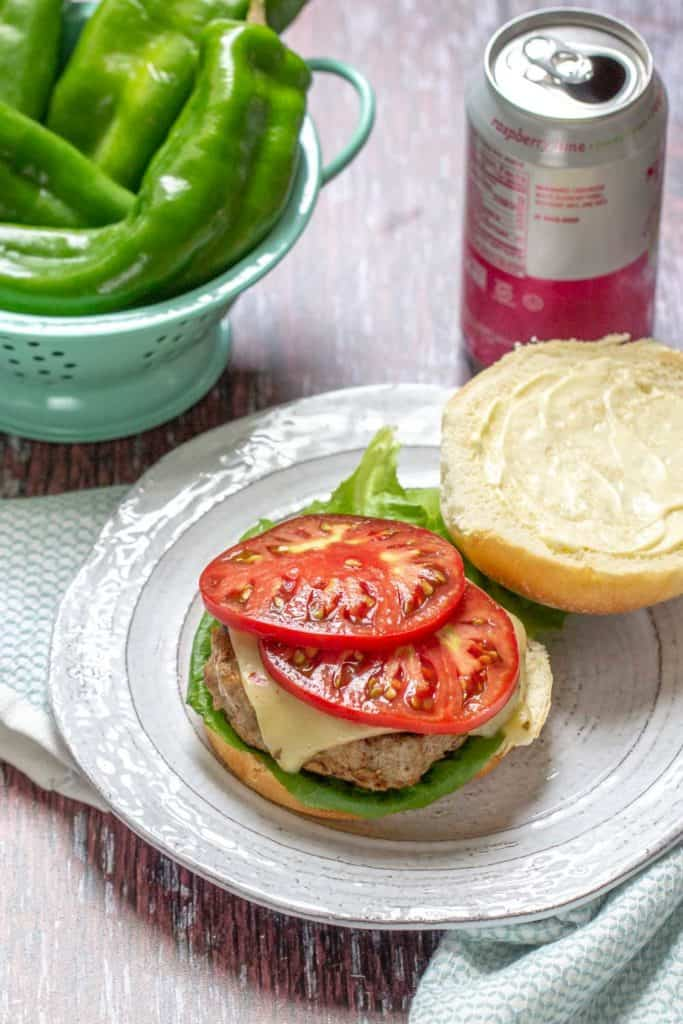 hatch chile turkey burger with toppings