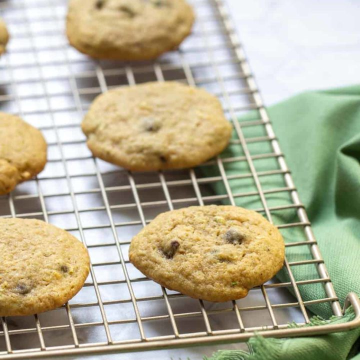 zucchini chocolate chip cookies resting on cooling rack