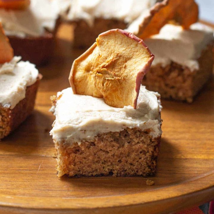 cake stand with apple spice cake slices