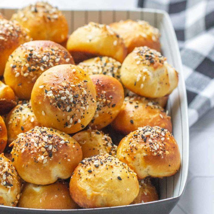 serving dish filled with everything bagel pretzel bites