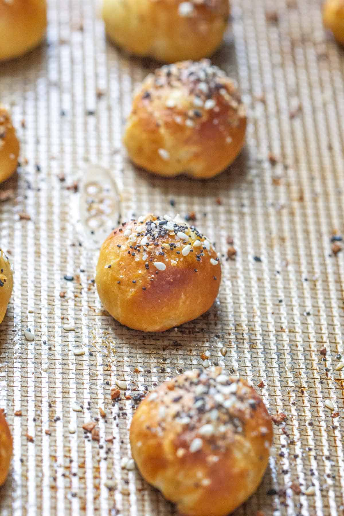 everything bagel pretzel bites on baking sheet
