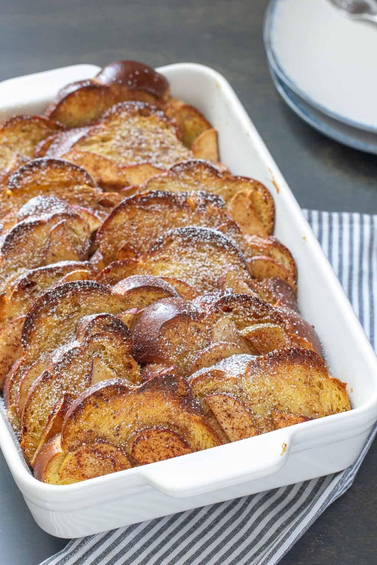 overnight apple cinnamon french toast in casserole dish