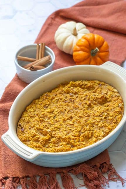 pumpkin baked oatmeal in a casserole dish