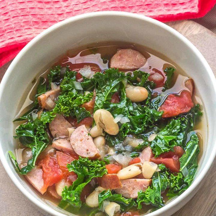 bowl of white bean sausage soup